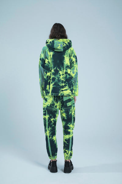 NEON GREEN ULTIMATE TIE DYE DENIM PANTS-SHORTS