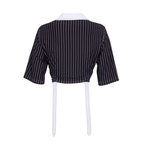 PIN STRIPE LONG LIVE NOTHING CROP TOP