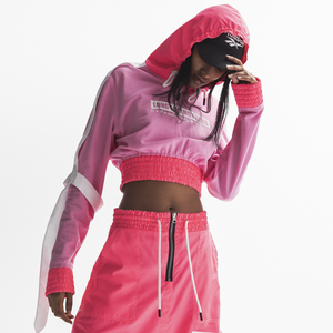 END OF THE WORLD PINK CROP HOODIE