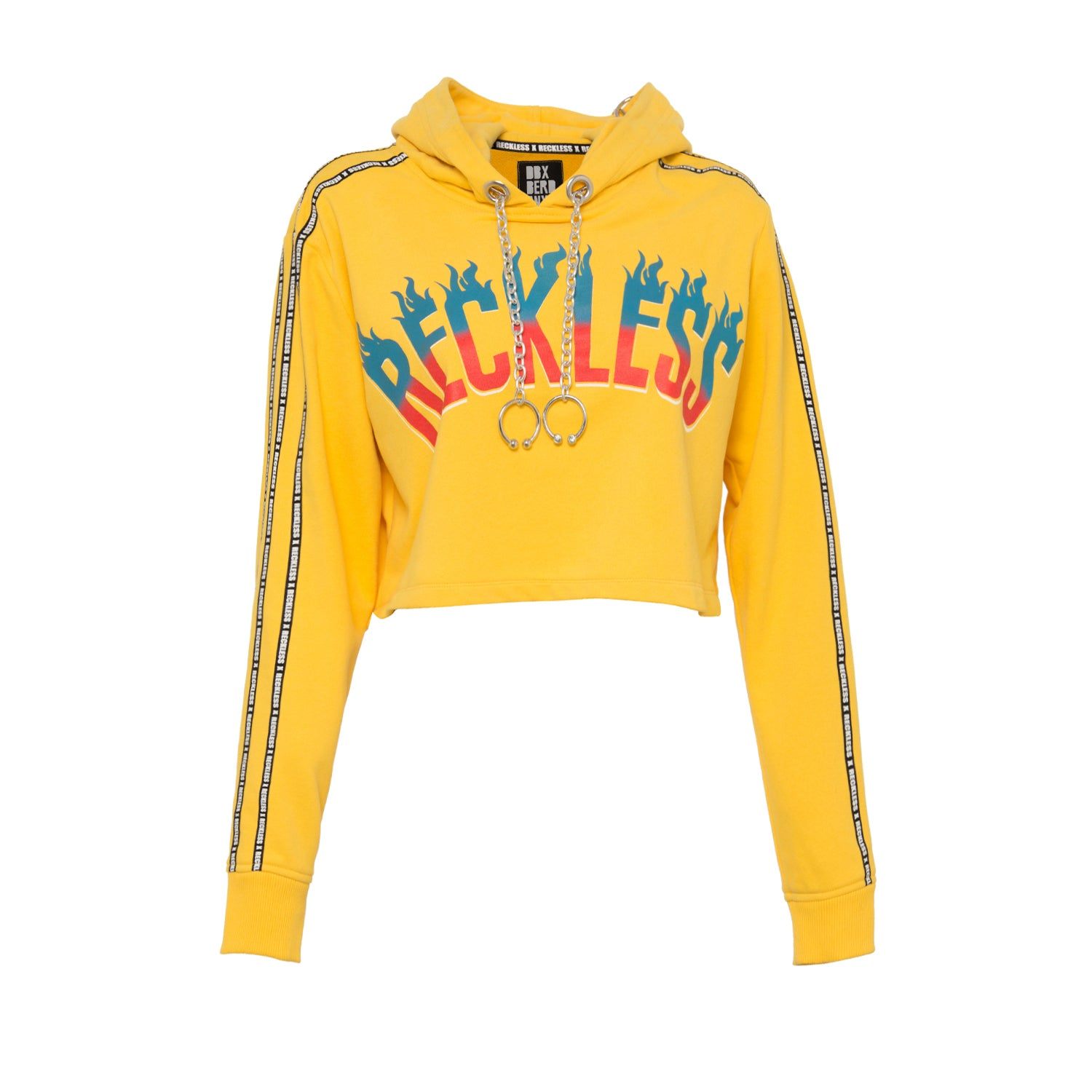 HOT AND RECKLESS YELLOW CROPPED SWEATSHIRT