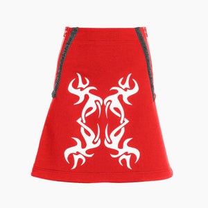 TRIBAL TATTS RED MINI SKIRT
