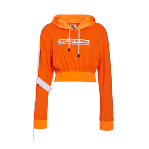 END OF THE WORLD ORANGE CROP HOODIE
