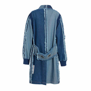 RAW EDGED TWO TONED DENIM COAT