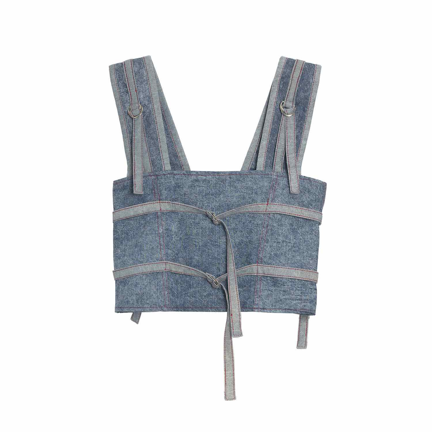 TWO TONED DENIM ZIPPED VEST
