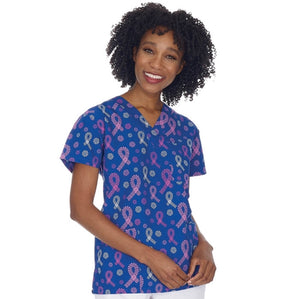 Women's Breast Cancer Awareness Scrub Top