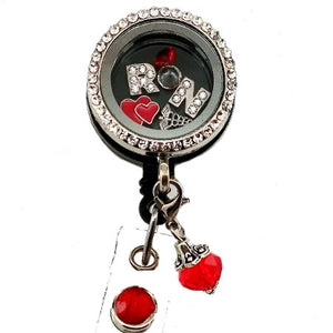 RN Heart Floating Charm ID Badge Reel
