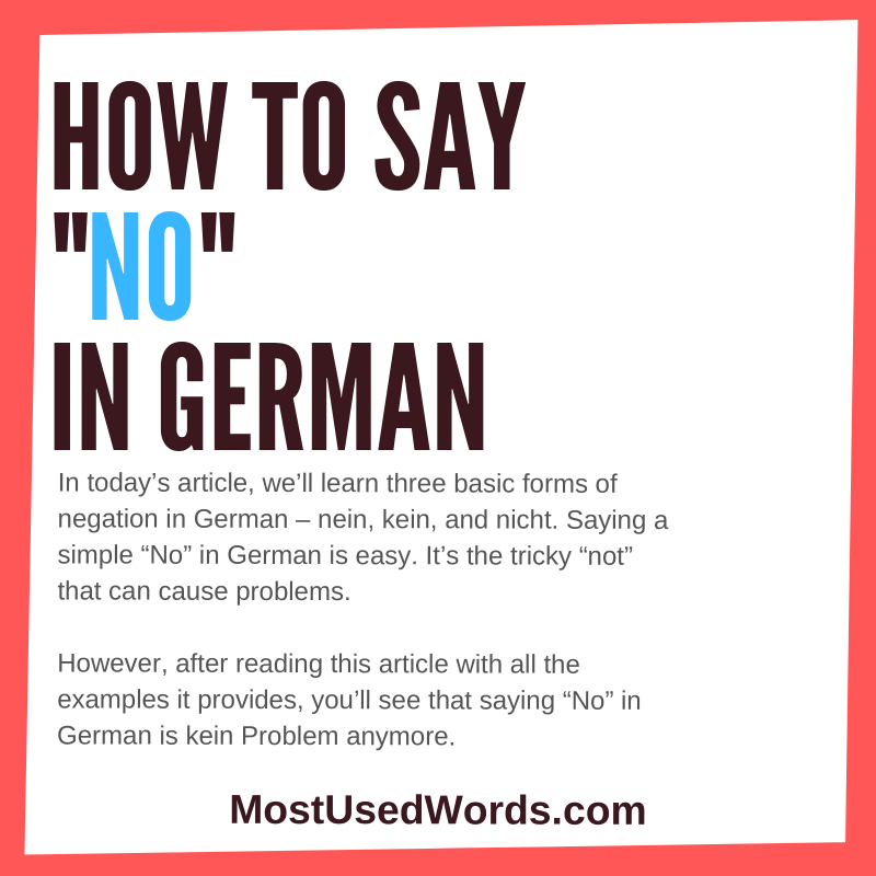 "How to Say ""No"" in German (with Tips on How to Tackle the German Negation)"