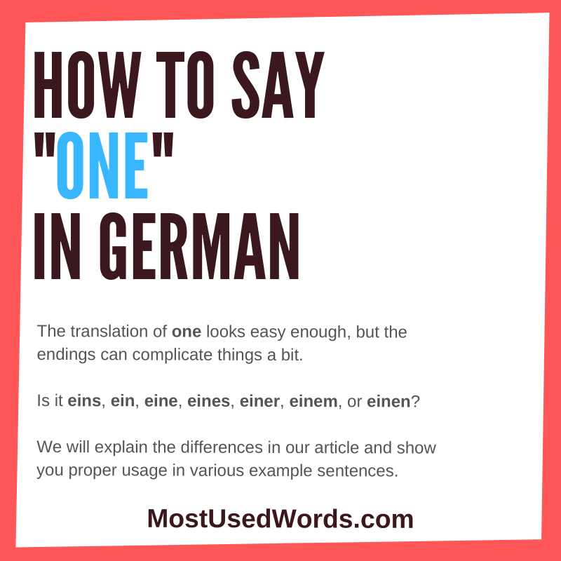 How Do You Say One in German? It's One of the Most Important Words!