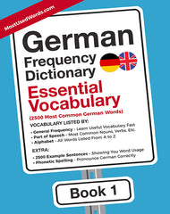German Frequency Dictionary 1 - Essential Vocabulary - 2500 most common words by frequency list