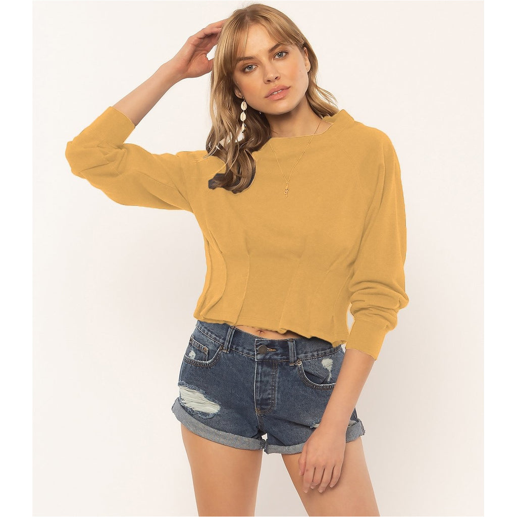 DEVON LONG SLEEVE KNIT FLEECE TOP - CHAMPAGNE