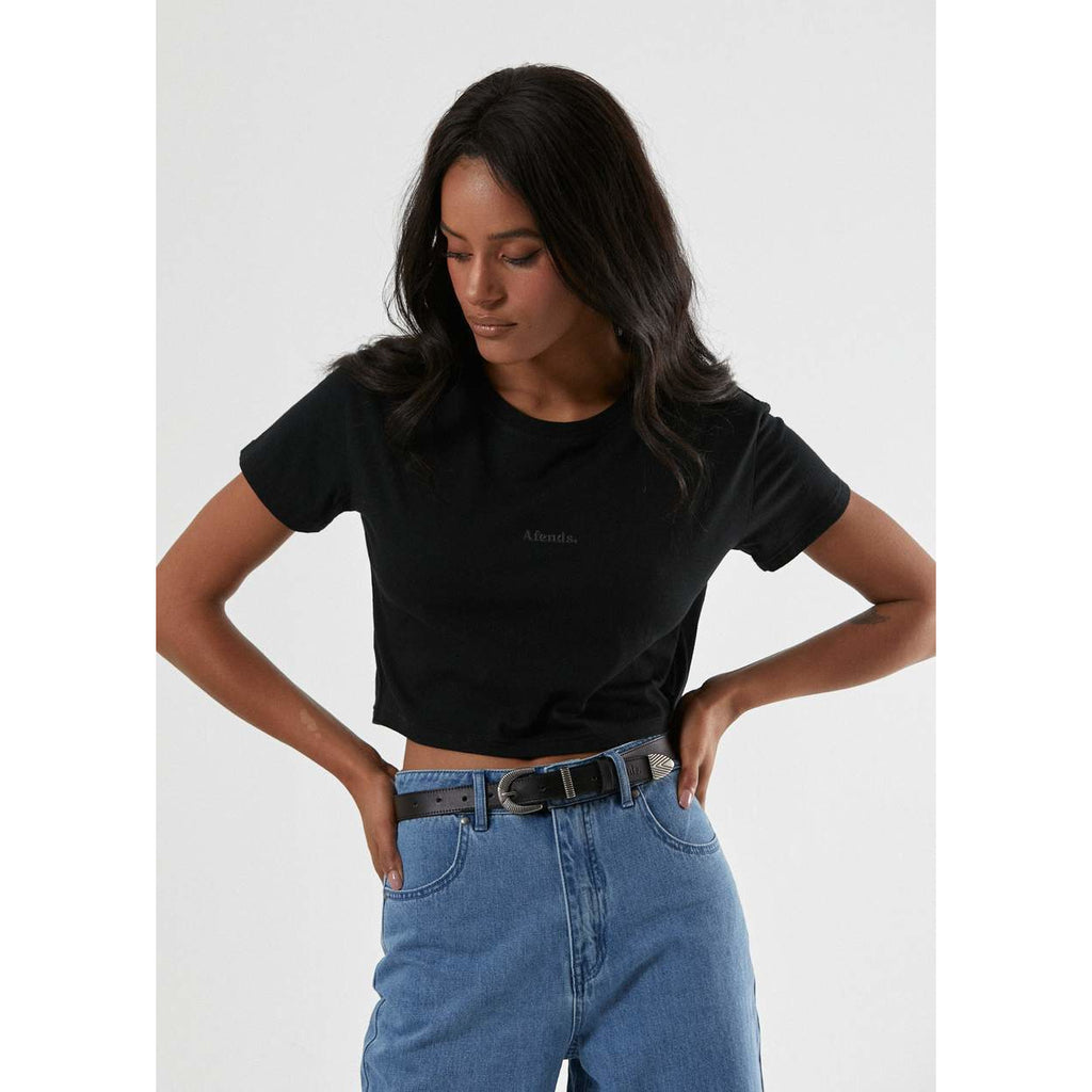 AFENDS MILLIE CROP TEE BLACK