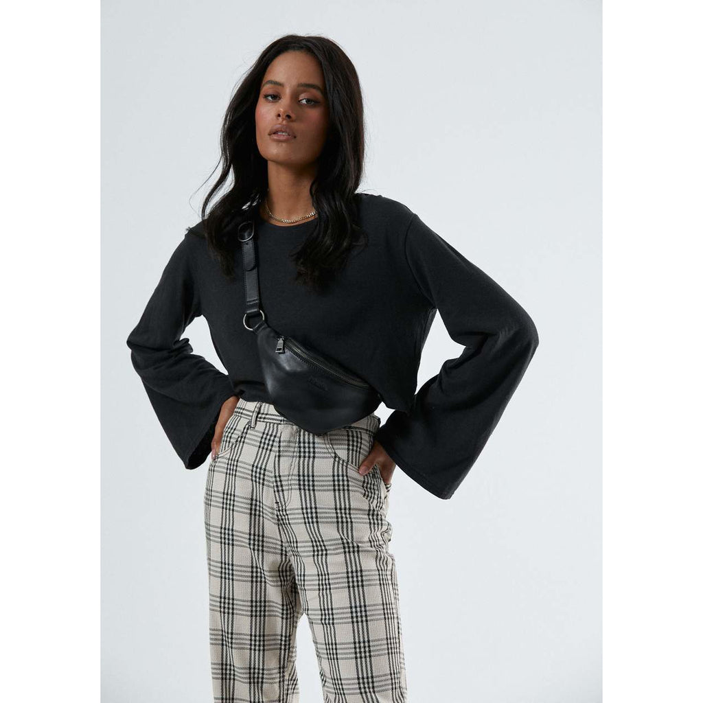 SHELBY STARFIELD CHECK HIGH WAIST WIDE LEG PANT AFENDS