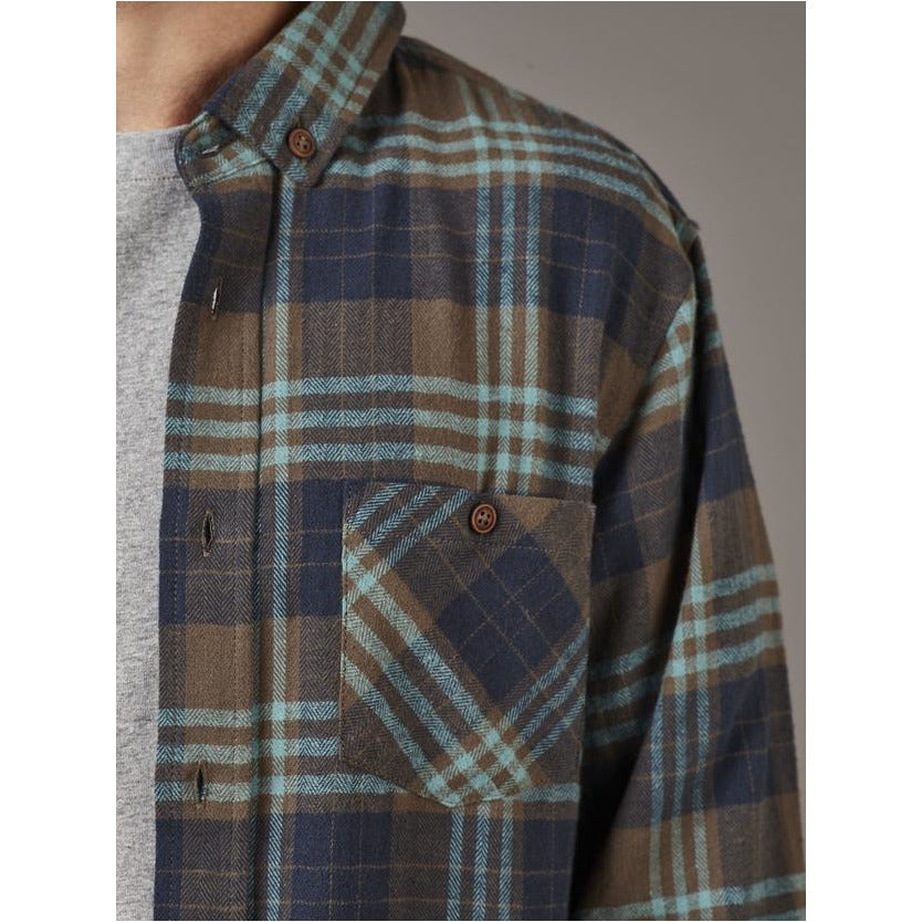 JUST ANOTHER FISHERMAN BOATYARD SHIRT - OLIVE / BLUE JAF