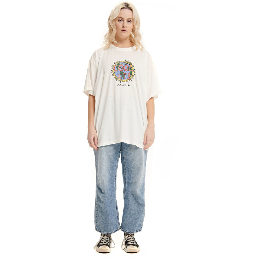 BYO GLEN OVERSIZED TEE WASHED WHITE WOMENS