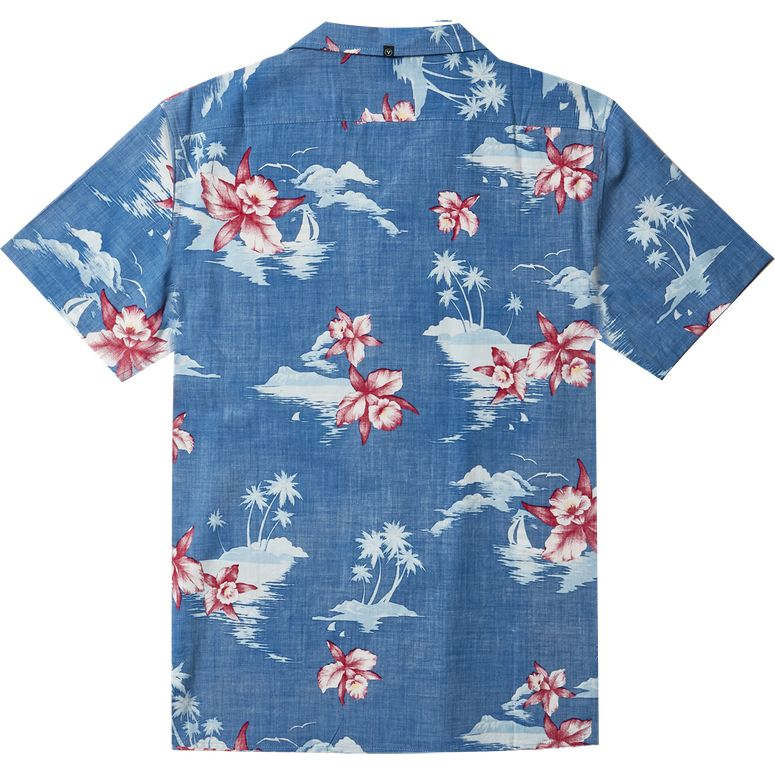 MIDNIGHT ALOHA SHORT SLEEVE SHIRT VISSLA OCEAN BLUE