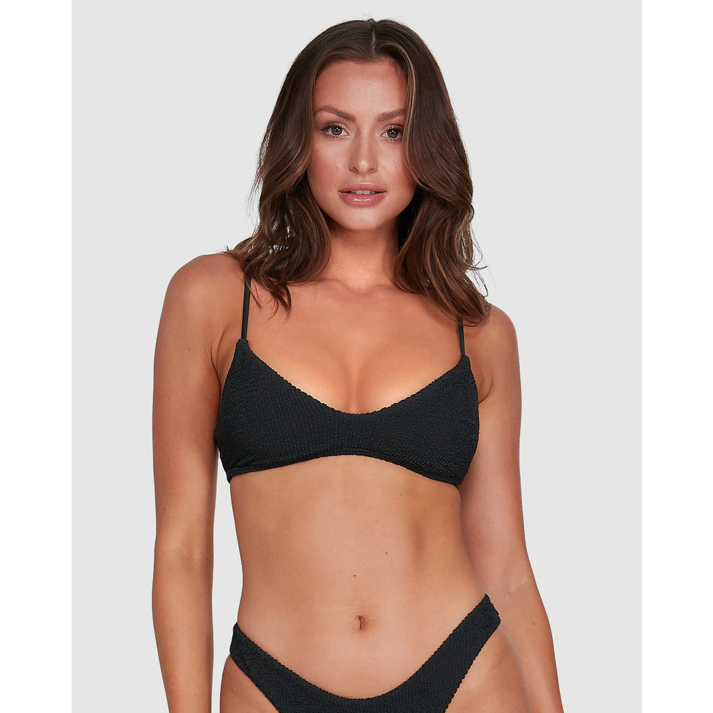 SUMMER HIGH V NECK BRALETTE BIKINI TOP black sands