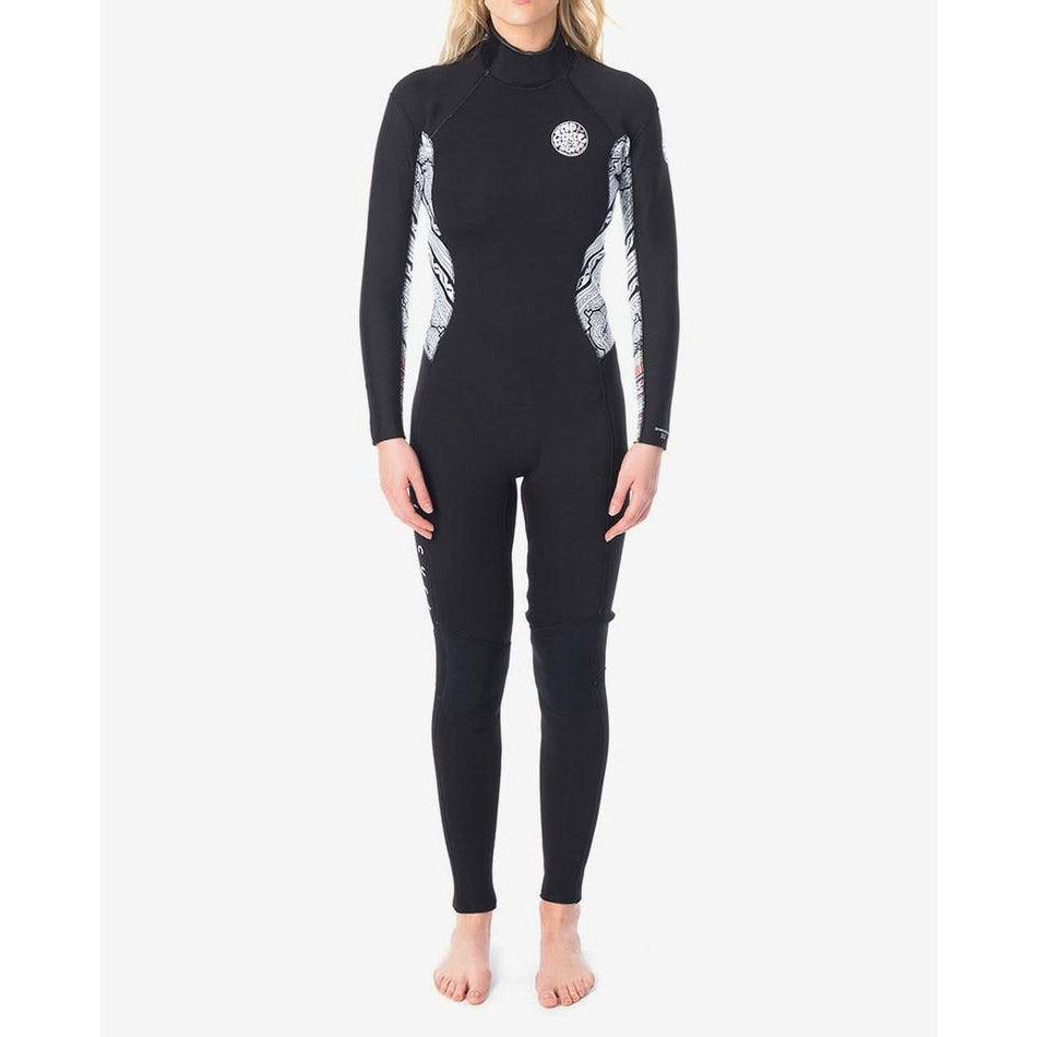 WMNS DAWN PATROL 4/3MM BACK ZIP STEAMER - WHITE BLACK