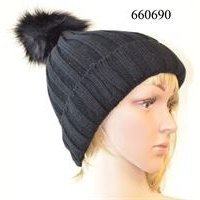 Beanie - Ribbed Black with Pompom
