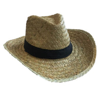 Hat Flax Cowboy Plain Black band