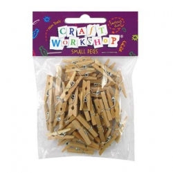 Pegs Small Natural 50pc