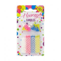 Candle B/day 12pc W/Holders 12/576