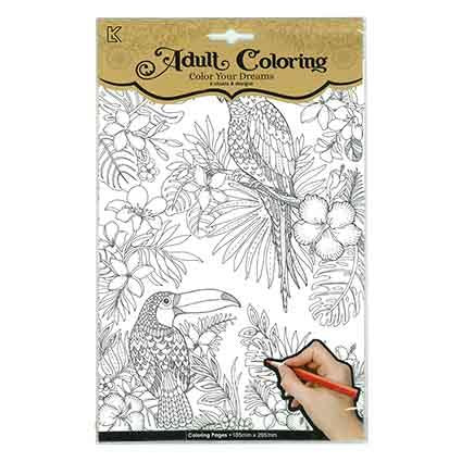 Colouring Book Tropical Birds - Adults