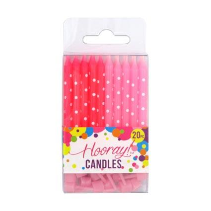 Candle Pink w/holders 20pc