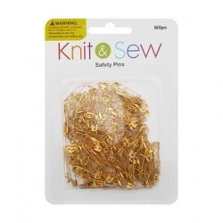 Sewing Saftey Pins Gold 2.4cm 160pc 12/288