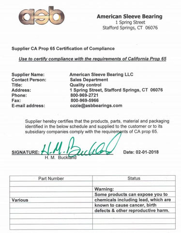 CA Prop 65 Certification