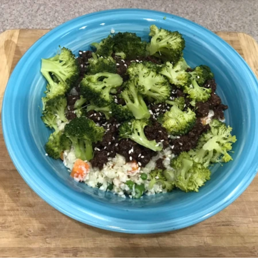 Korean Venison cauliflower rice bowl (low carb)