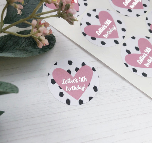 Dotty Heart Foiled Birthday Stickers