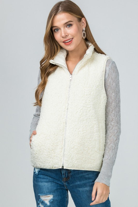 Reversible Sherpa Quilted Vest