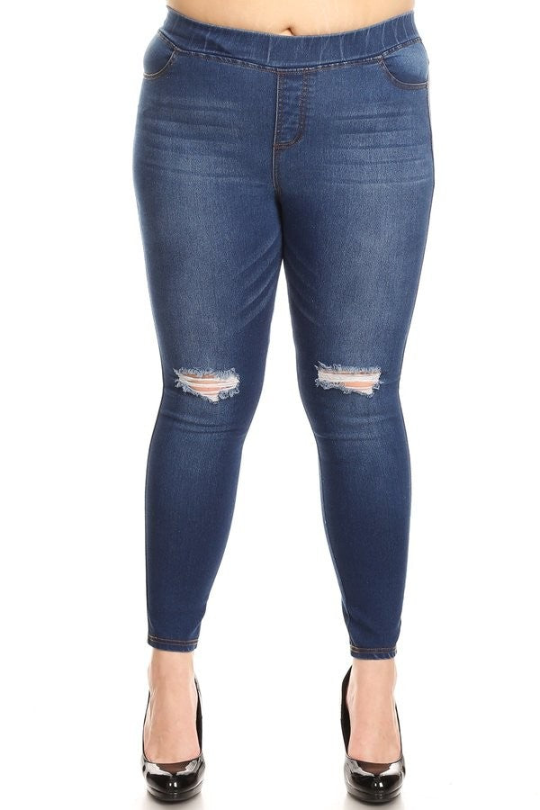Plus Distressed Medium Wash Jeans