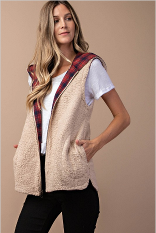 Reversible Sherpa Plaid Vest