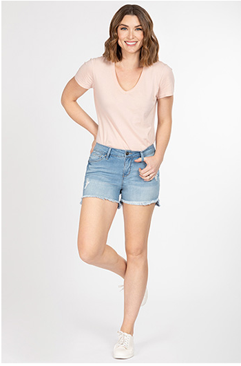 Hi-Low Frayed Hem Shorts