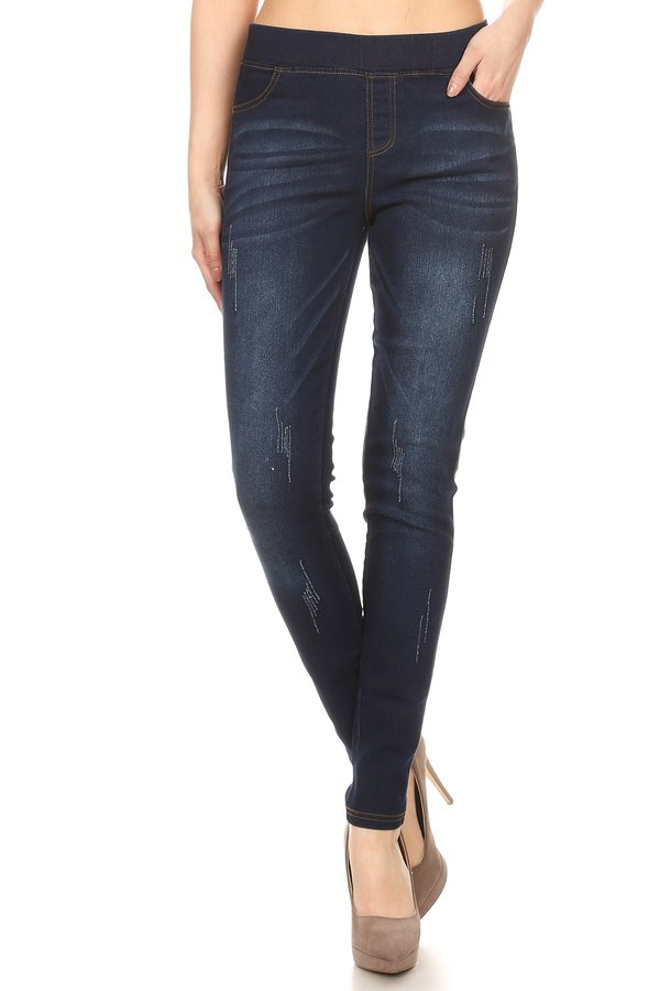 Dark Wash Cat Scratch Jeans