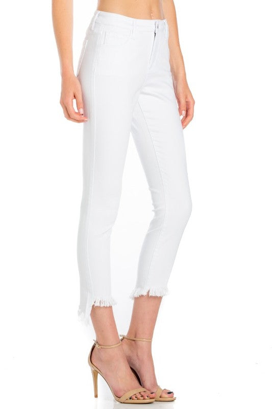 White Crop Fray Jeans