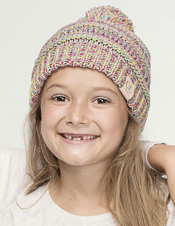 Girls' Four Tone Pom Pom Beanie