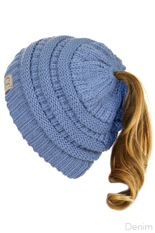 Girls' Solid Ponytail Beanie