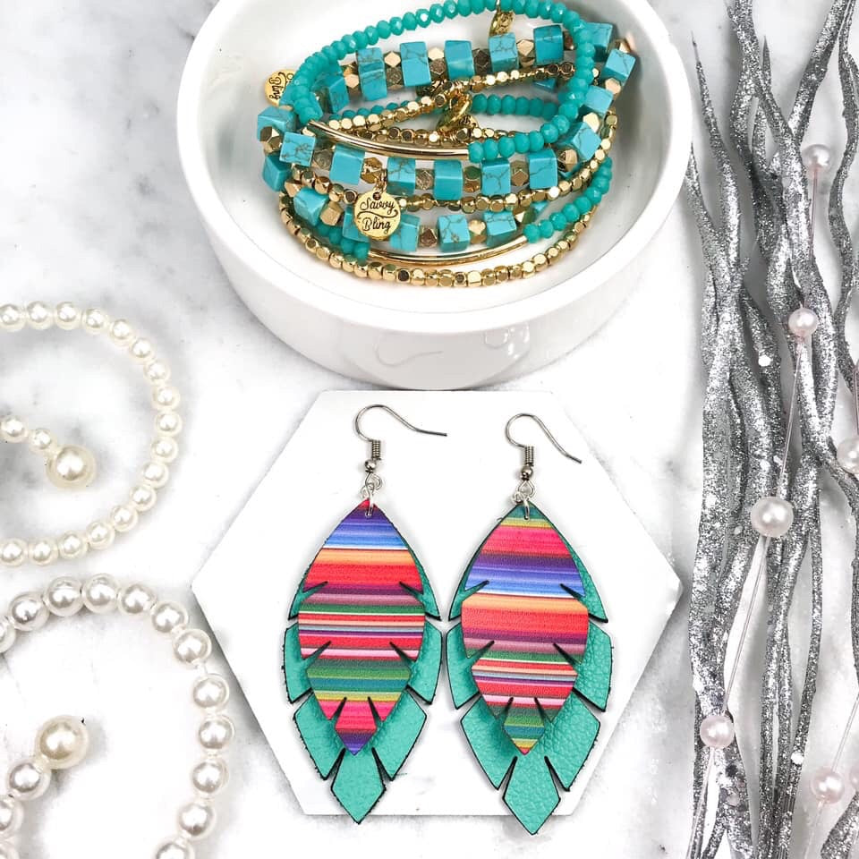 Serape Leaf Earrings