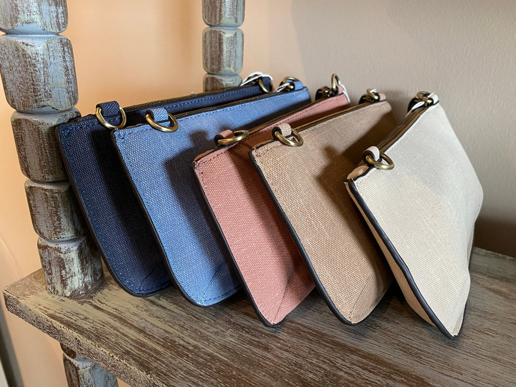Faux Linen Crossbody Wristlet Clutch