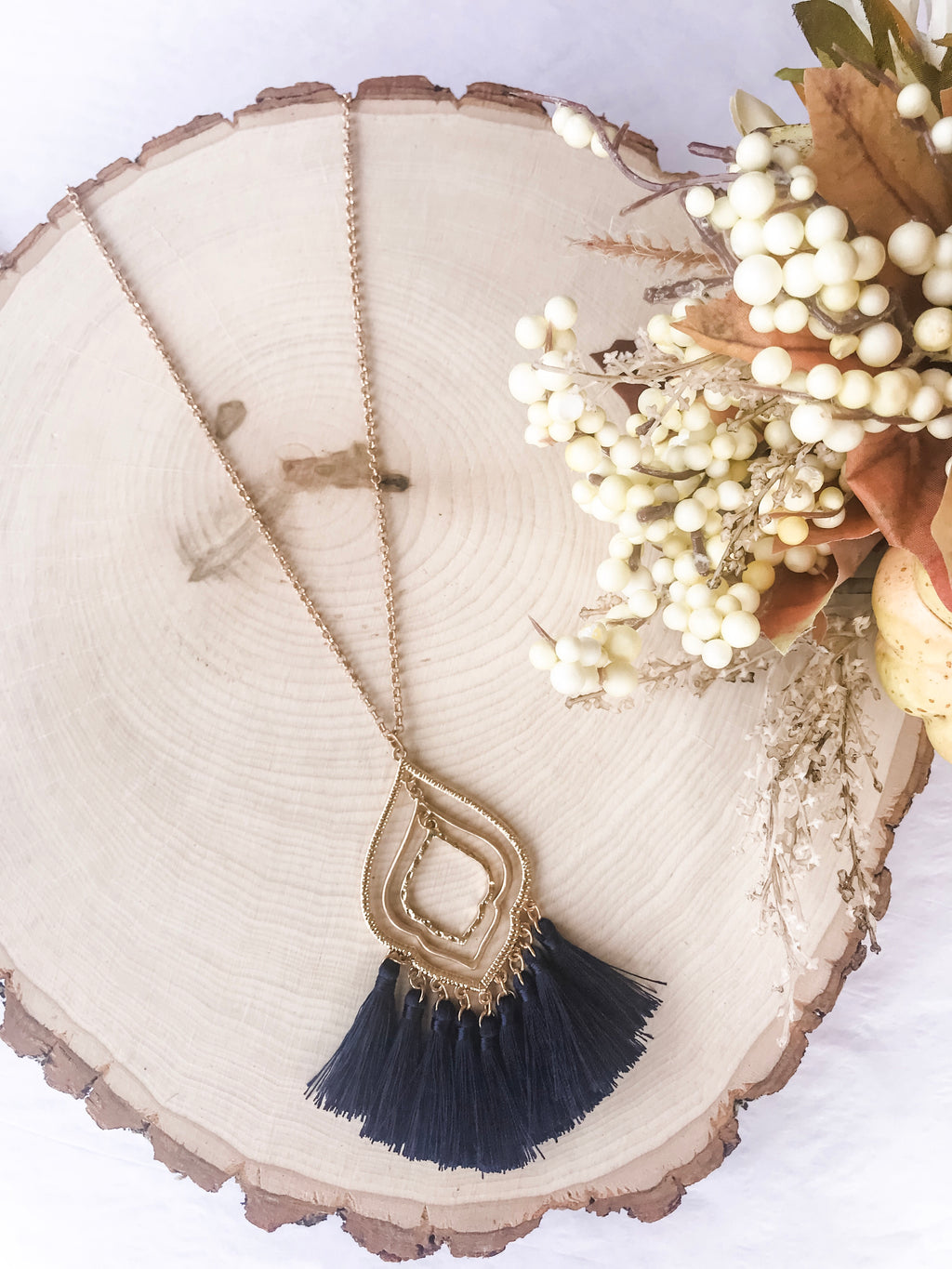 Quatrefoil Layered Tassel Necklace