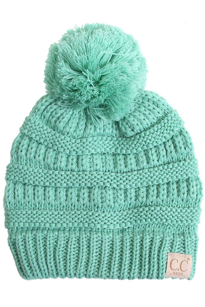 Girls' Solid Pom Pom Beanie