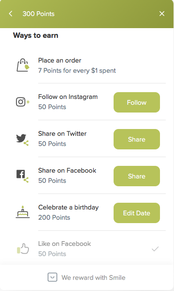 image of earning points page
