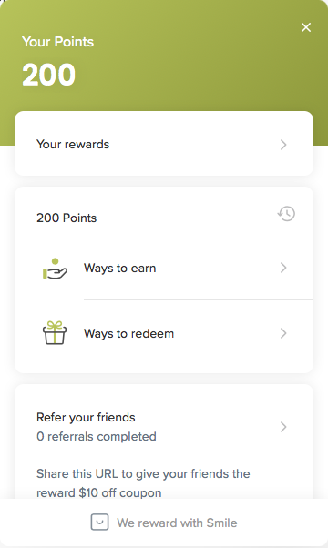 image of rewards points main page