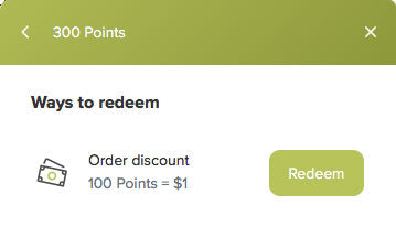 image of ways to redeem page and button
