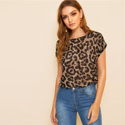 Round Neck Leopard Blouse