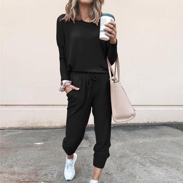Women Solid Long Sleeve Sweatsuit for Women