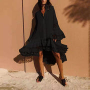 Summer Women  V neck Flare Sleeve Buttons Dress