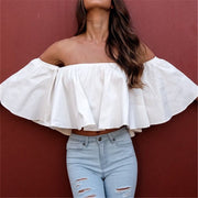 White Flare Blouse Wide Sleeve Shoulderless